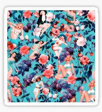 Pinup and Floral Pattern Sticker