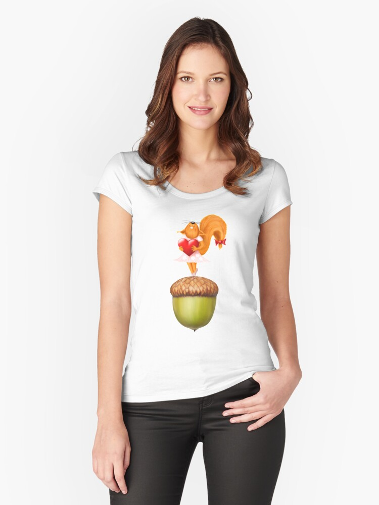 Happy squirrel with heart standing on acorn illustration art Women's Fitted Scoop T-Shirt Front