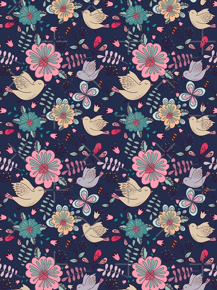 Sweet little birds in flight with bright colourful flowers, a fun modern repeating illustration on black, classic statement fashion clothing, soft furnishings and home decor  by Mindreader