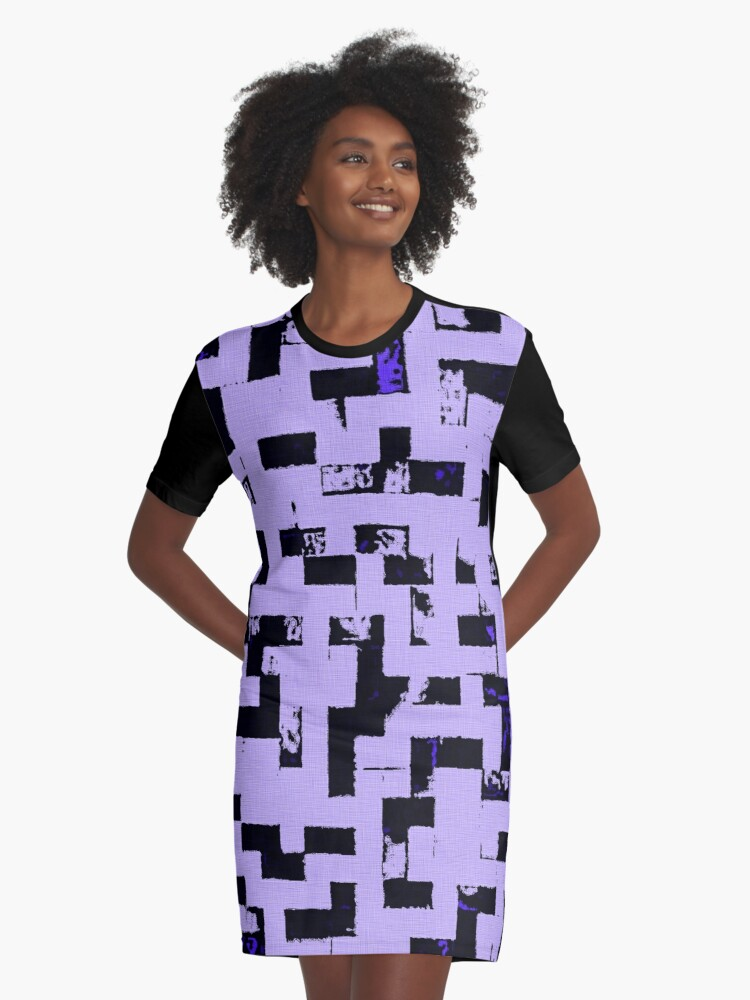 Line Art - The Bricks, tetris style, purple and black Graphic T-Shirt Dress Front