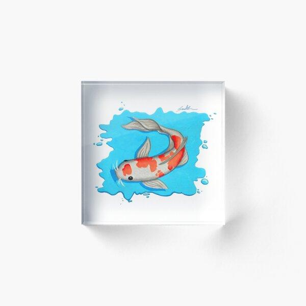 Coy Fish Swimming Acrylic Block