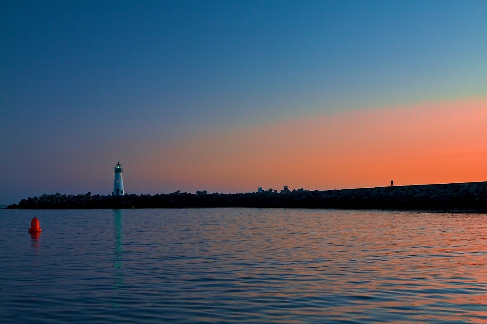 Lighthouse at Harbor Deep Sunset by ScHPhotography Digital Paintings and Design