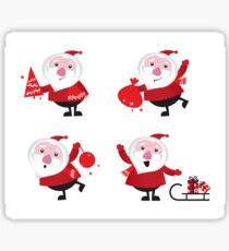 Vector Santas in various poses collection Sticker