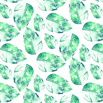 Watercolor green leaves pattern by Lukovka