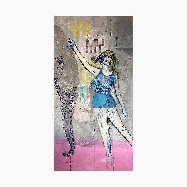 Elephant and girl | Pop art | Street-art | Graffiti aesthetics Photographic Print