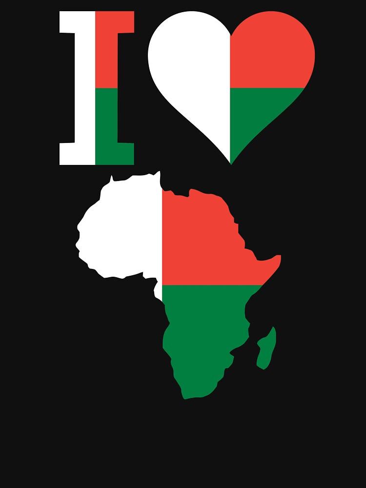 I love Madagascar flag Africa map t-shirt by mamatgaye