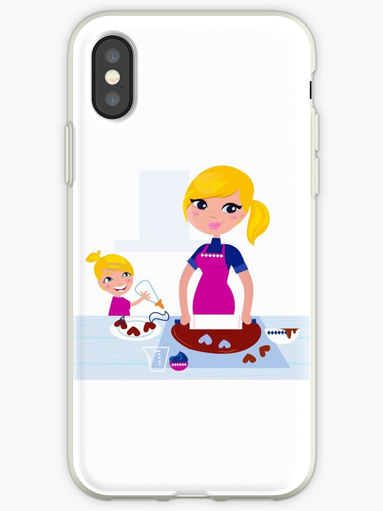 Happy blond hair Mother with Daughter baking together by Bee and Glow Illustrations Shop