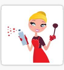 Beautiful blond Woman in red apron cleaning and cooking for Christmas Sticker