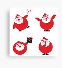 Vector illustration of cute cartoon Santa Claus set in various poses Canvas Print