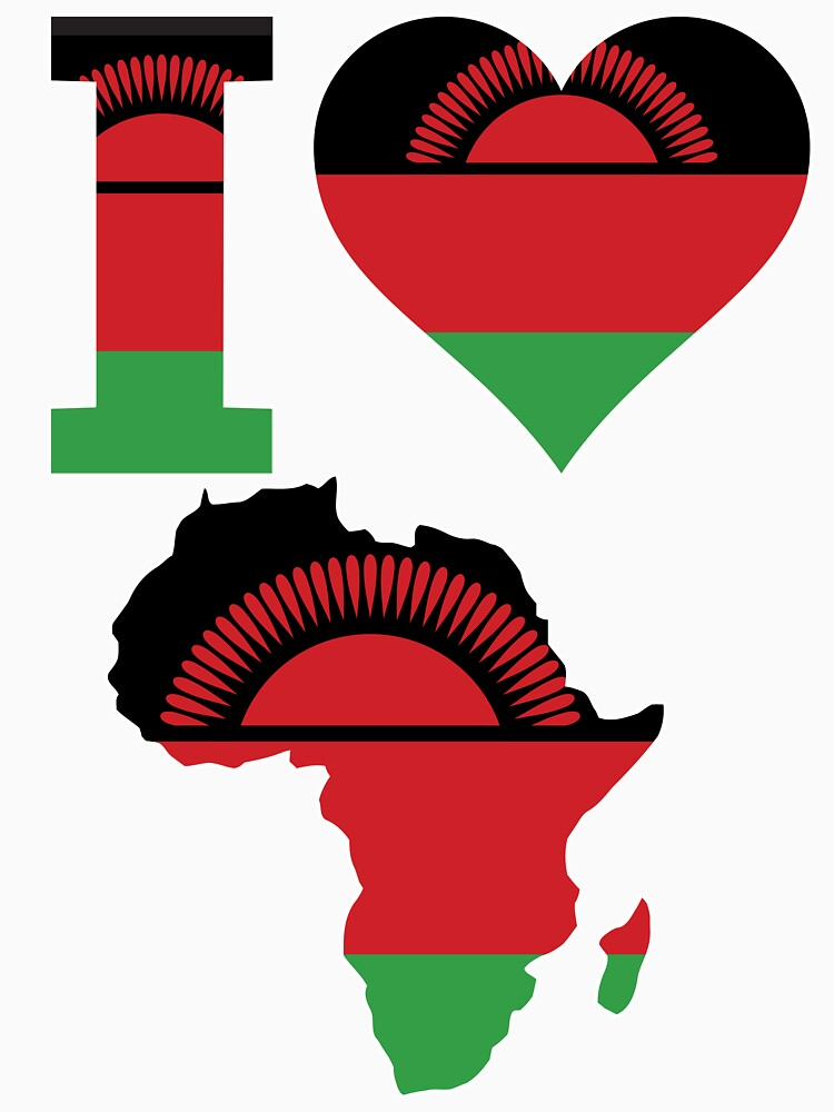 I love Malawi flag Africa map t-shirt by mamatgaye