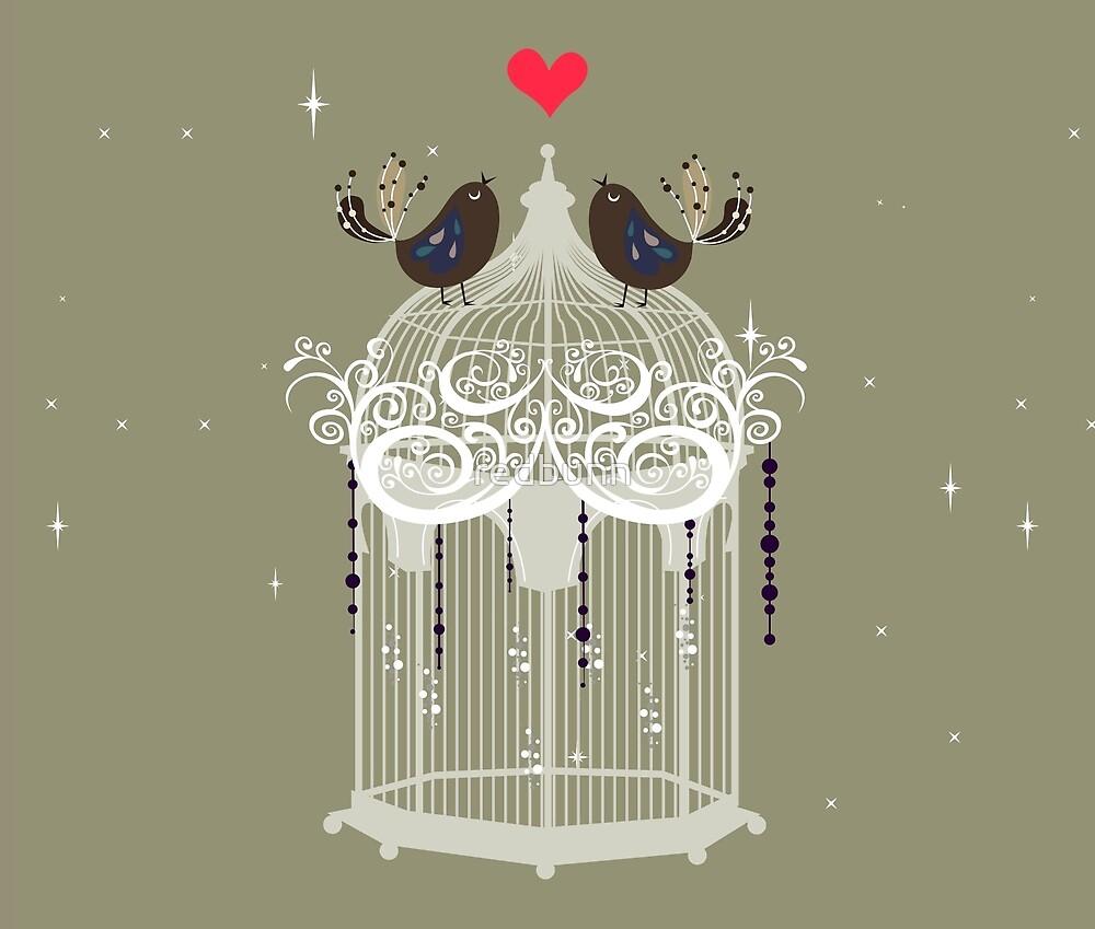 Love Birds - Green Background by redbunn