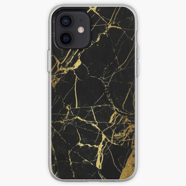 gold and black marble iPhone Soft Case