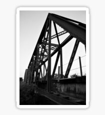 Rail Road Bridge Richmond Texas BW Sticker