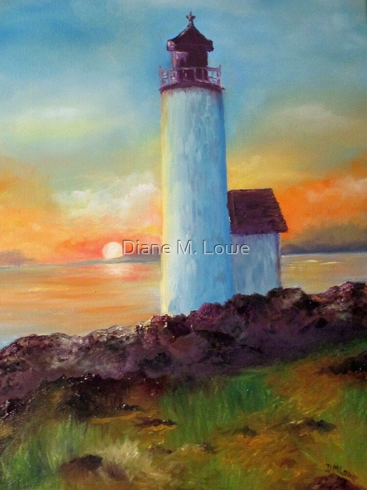 Blue Lighthouse with Sun by Diane M. Lowe