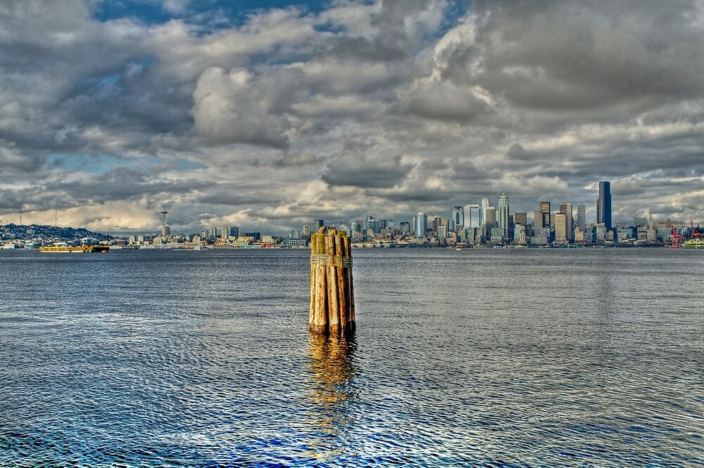 Seattle Skyline and Cityscape by ScHPhotography Digital Paintings and Design
