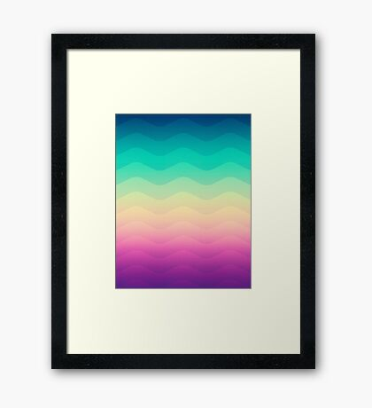 Abstract Geometric  Candy / Rainbow Waves Pattern (Multi Color) Framed Print