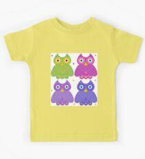 Whimsical Cartoon Owl Pattern Kids Tee