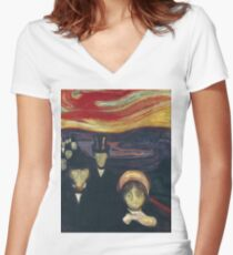Edvard Munch - Anxiety Women's Fitted V-Neck T-Shirt