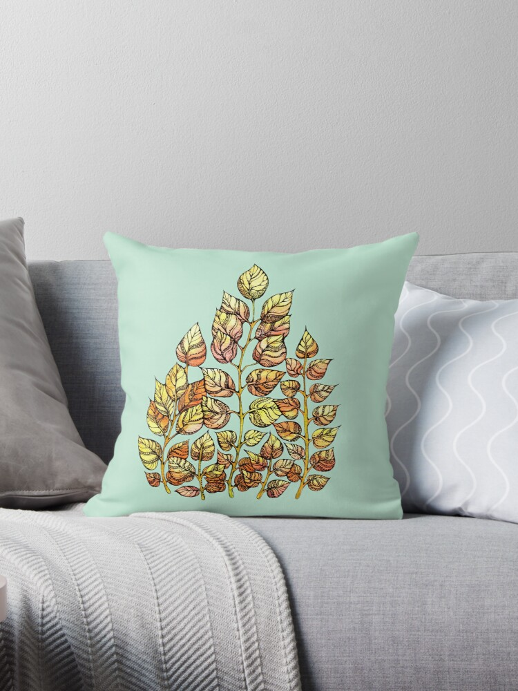 Hand drawn watercolor  golden leaves by kanvisstyle