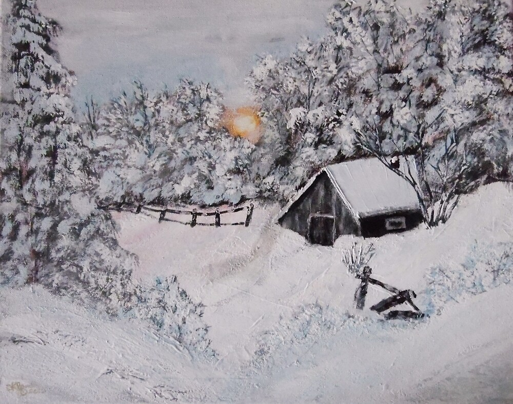 Cabin In The Snow by Dawn Randle
