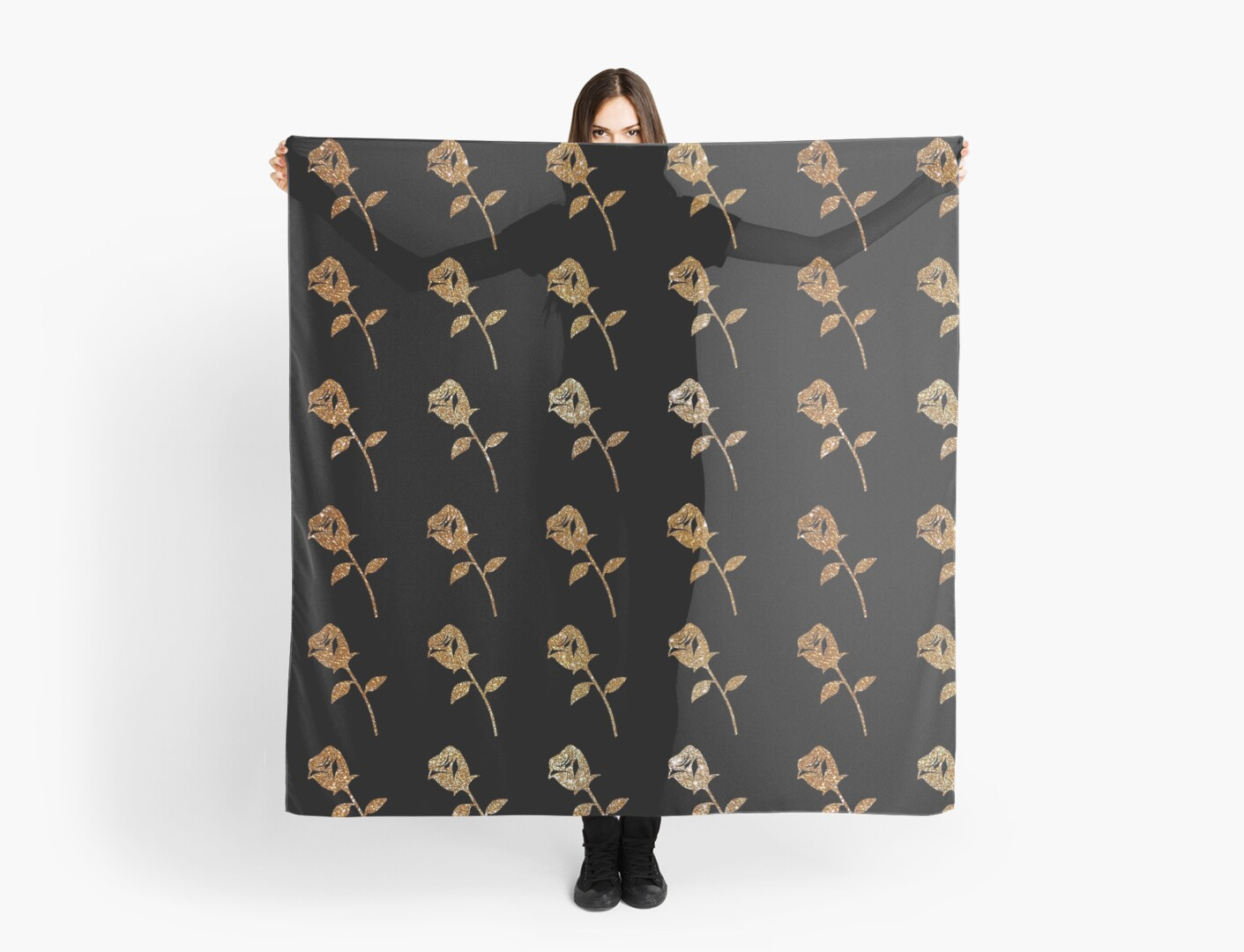 Gold Roses Pattern on Black by Whimsydesigns