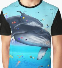 Humpback Whales Flying Graphic T-Shirt