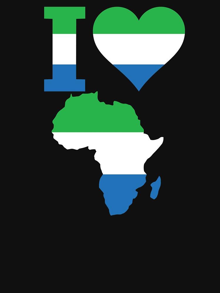 I love Sierra Leone flag Africa map t-shirt by mamatgaye