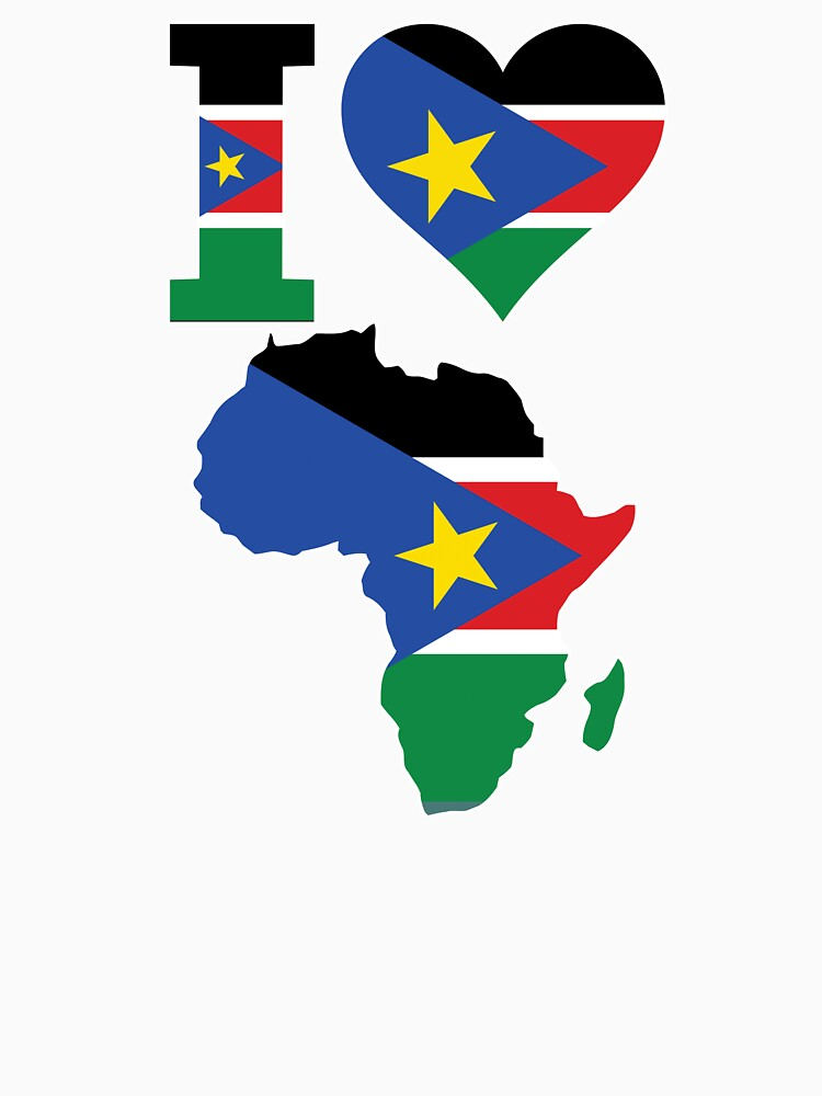 I love South Sudan flag Africa map t-shirt by mamatgaye