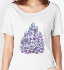 Rose Quartz and Serenity hand drawn and watercolor leaves  Women's Relaxed Fit T-Shirt