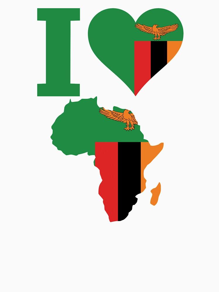 I love Zambia flag Africa map t-shirt by mamatgaye