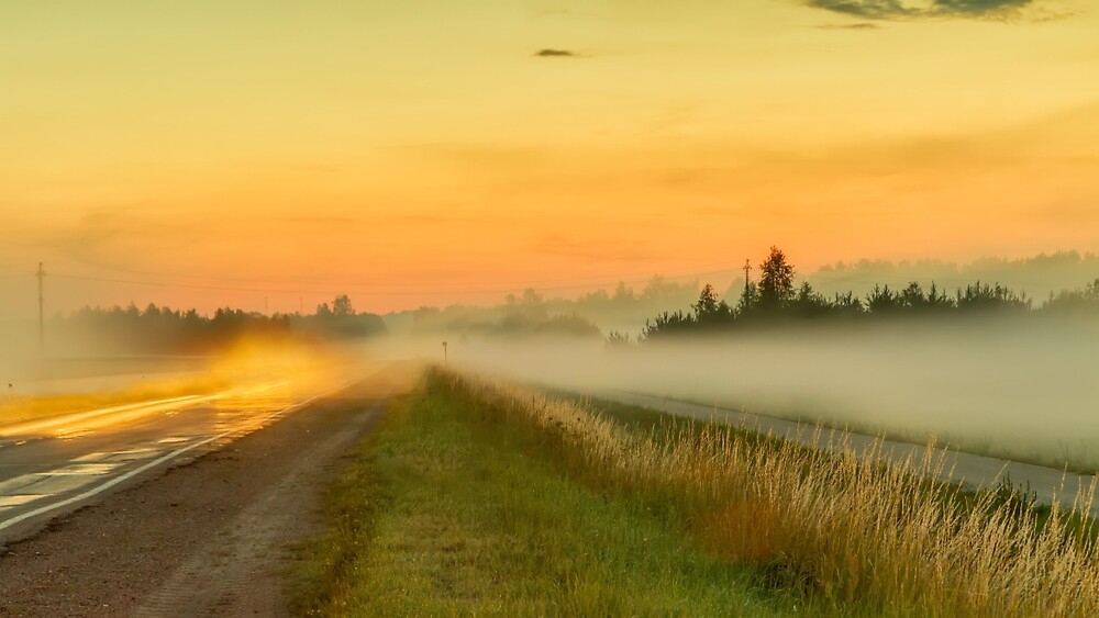 The road in the fog by Geraldas Galinauskas