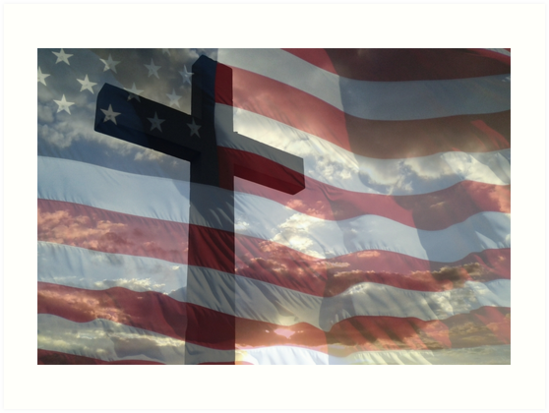 AMERICAN FLAG AND CROSS by Sandra  Aguirre