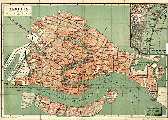 Map of Venice - 1886 by Djidiouf-PD