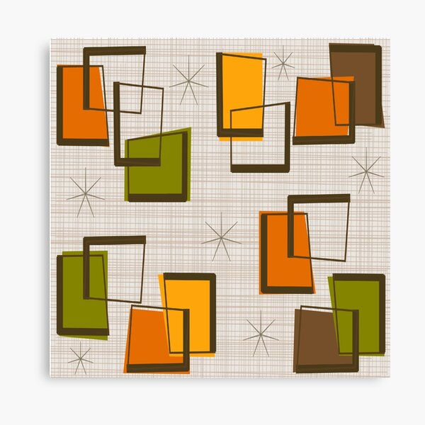 Rectangles and Stars Mid-Century Canvas Print