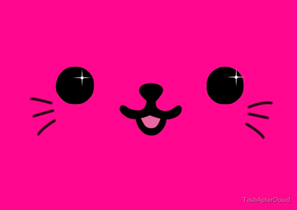 Pink Kawaii Kitty Face by TashApterDowd