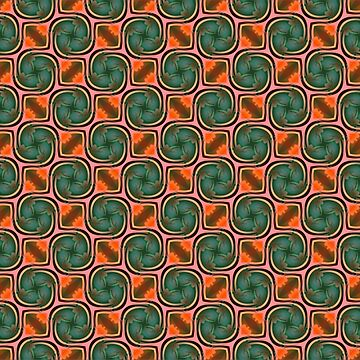 Green and Orange Pattern by ARTDICTIVE