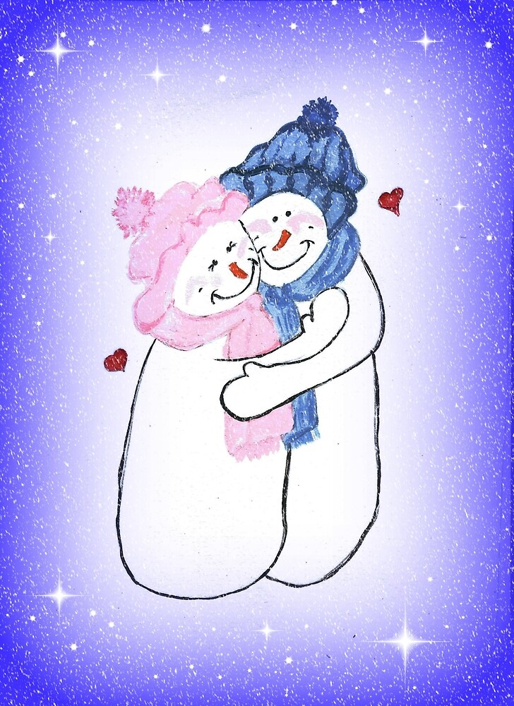 Snowman Couple by LeonaPaints