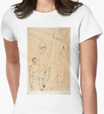 Egon Schiele - Schiele with Nude Model before the Mirror, 1910  Womens Fitted T-Shirt