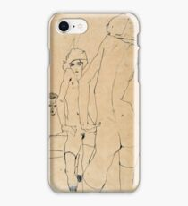 Egon Schiele - Schiele with Nude Model before the Mirror, 1910  iPhone Case/Skin