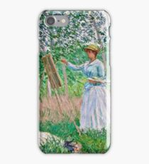 Claude Monet - In the Woods at Giverny Blanche Hoschede at Her Easel with Suzanne Hoschede Reading 1887  iPhone Case/Skin