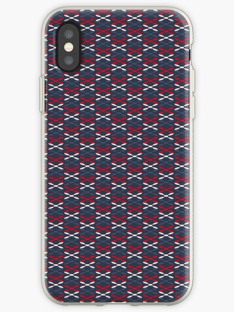 Blue, Red and White stylish graphic pattern by Lukovka