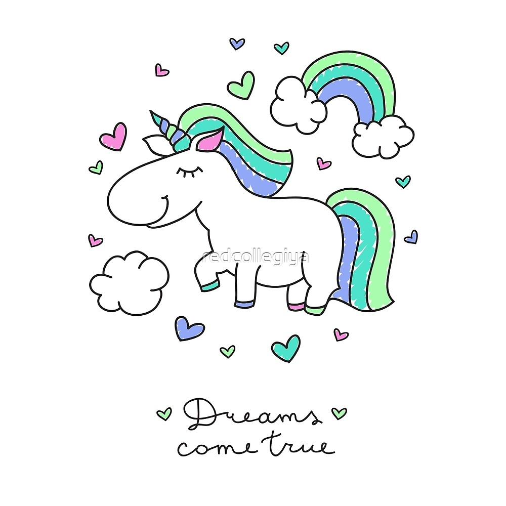 cute unicorns and rainbows by redcollegiya