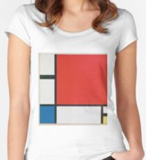 Piet Mondriaan - Mondrian Composition Ii In Red Blue And Yellow Women's Fitted Scoop T-Shirt