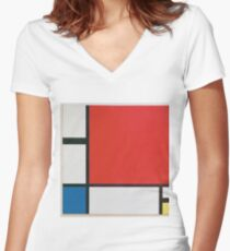 Piet Mondriaan - Mondrian Composition Ii In Red Blue And Yellow Women's Fitted V-Neck T-Shirt