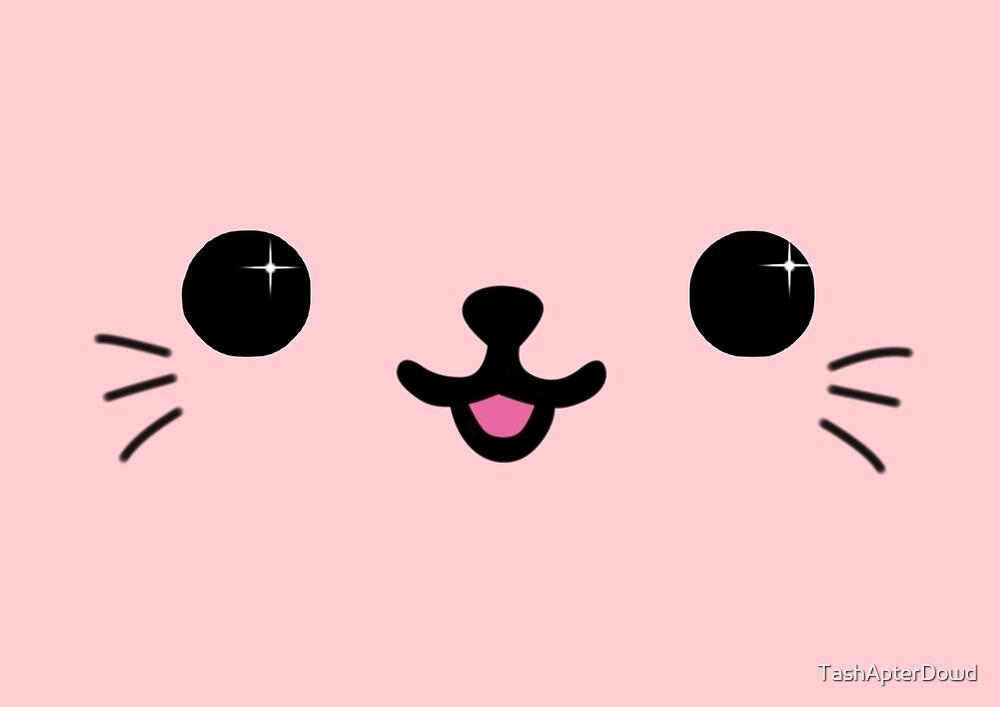 Pale Pink Kawaii Kitty Face by TashApterDowd