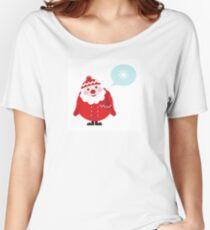 Cute vector cartoon Santa thinking Women's Relaxed Fit T-Shirt