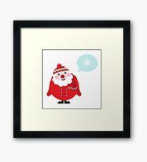 Cute vector cartoon Santa thinking Framed Print