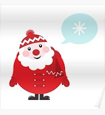 Cute vector cartoon Santa thinking Poster
