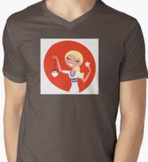 Retro blond cute Christmas Girl with decoration Mens V-Neck T-Shirt