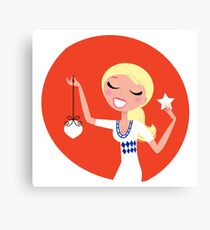 Retro blond cute Christmas Girl with decoration Canvas Print